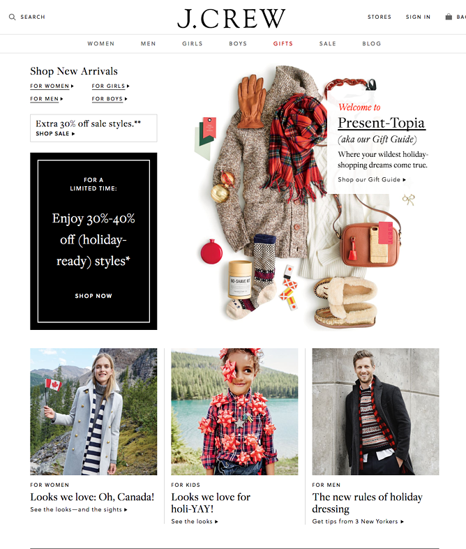 jcrew holiday homepage